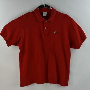 Lacoste Mens Red Polo Size 7 XL Red Short Sleeve